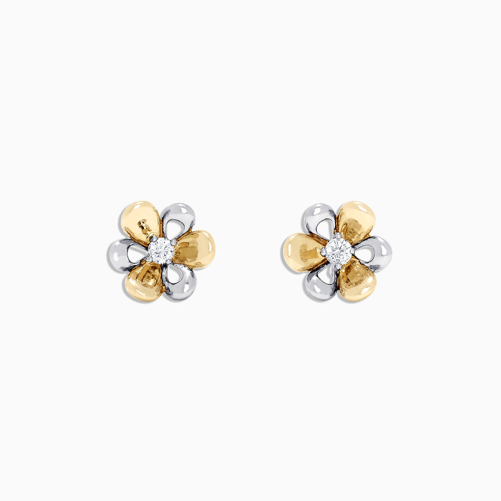 Effy Kidz 14K White and Yellow Gold Diamond Accented Earrings, 0.06 TCW