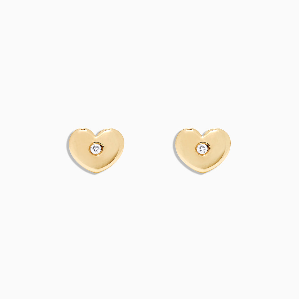 Effy Kidz 14K Yellow Gold Diamond Accented Heart Earrings, 0.02 TCW