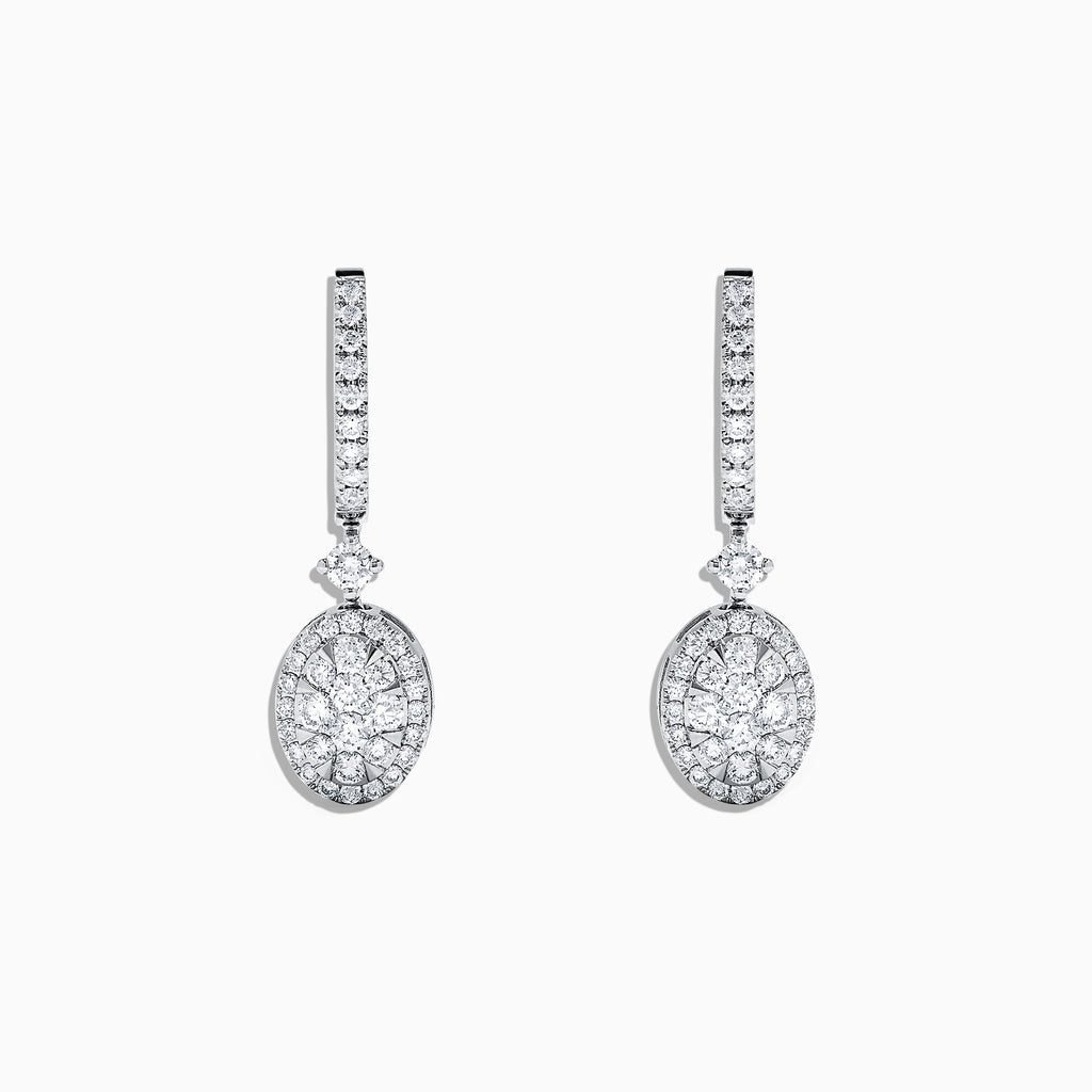 Effy Bouquet 14K White Gold and Diamond Drop Earrings, 0.85 TCW