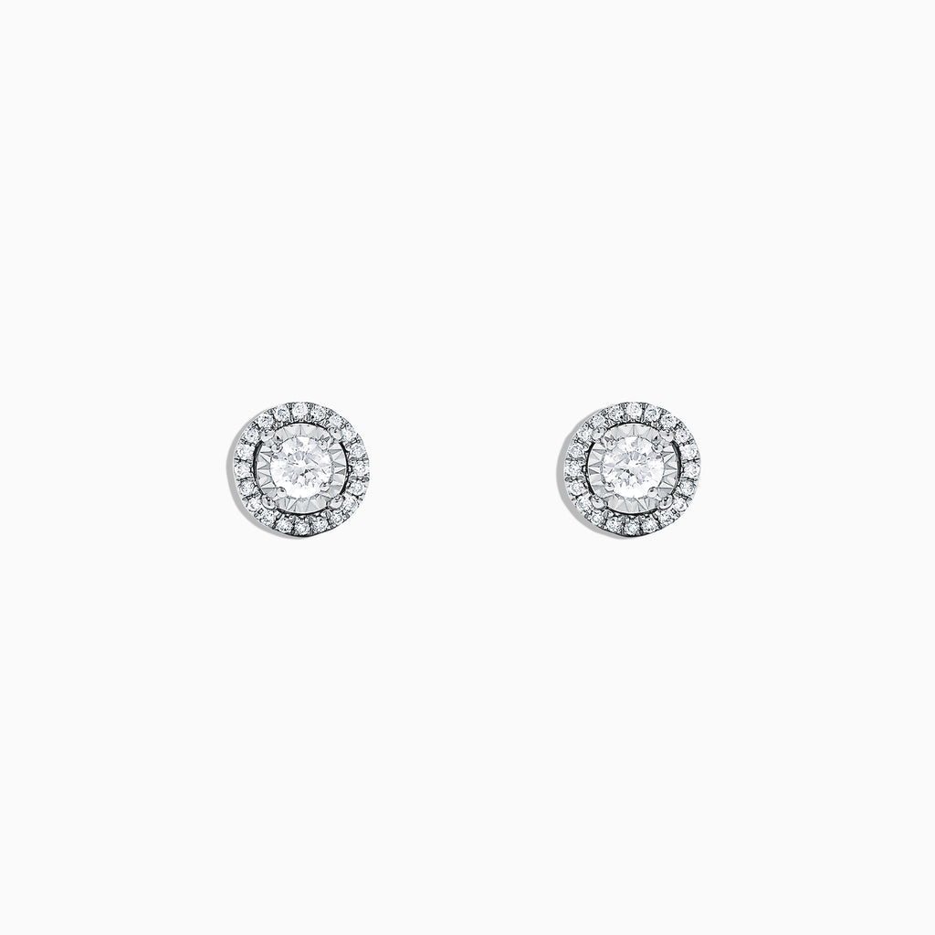 Effy Pave Classica 14K White Gold Diamond Stud Earrings, 0.35 TCW