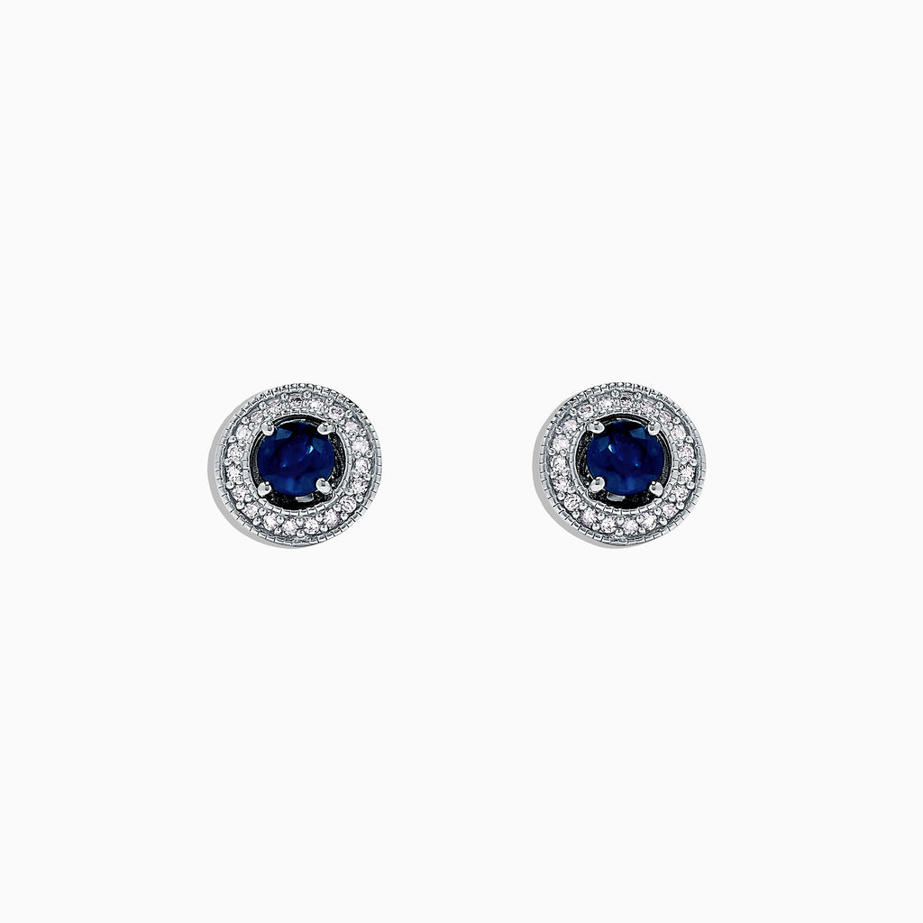 Effy 925 Sterling Silver Sapphire and Diamond Earrings, 0.80 TCW