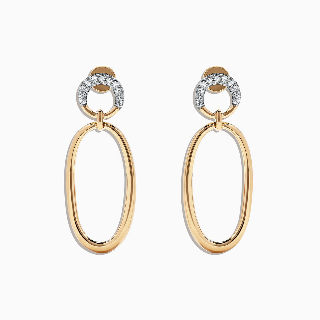 Effy D'Oro 14K Yellow Gold and Diamond Earrings, 0.19 TCW