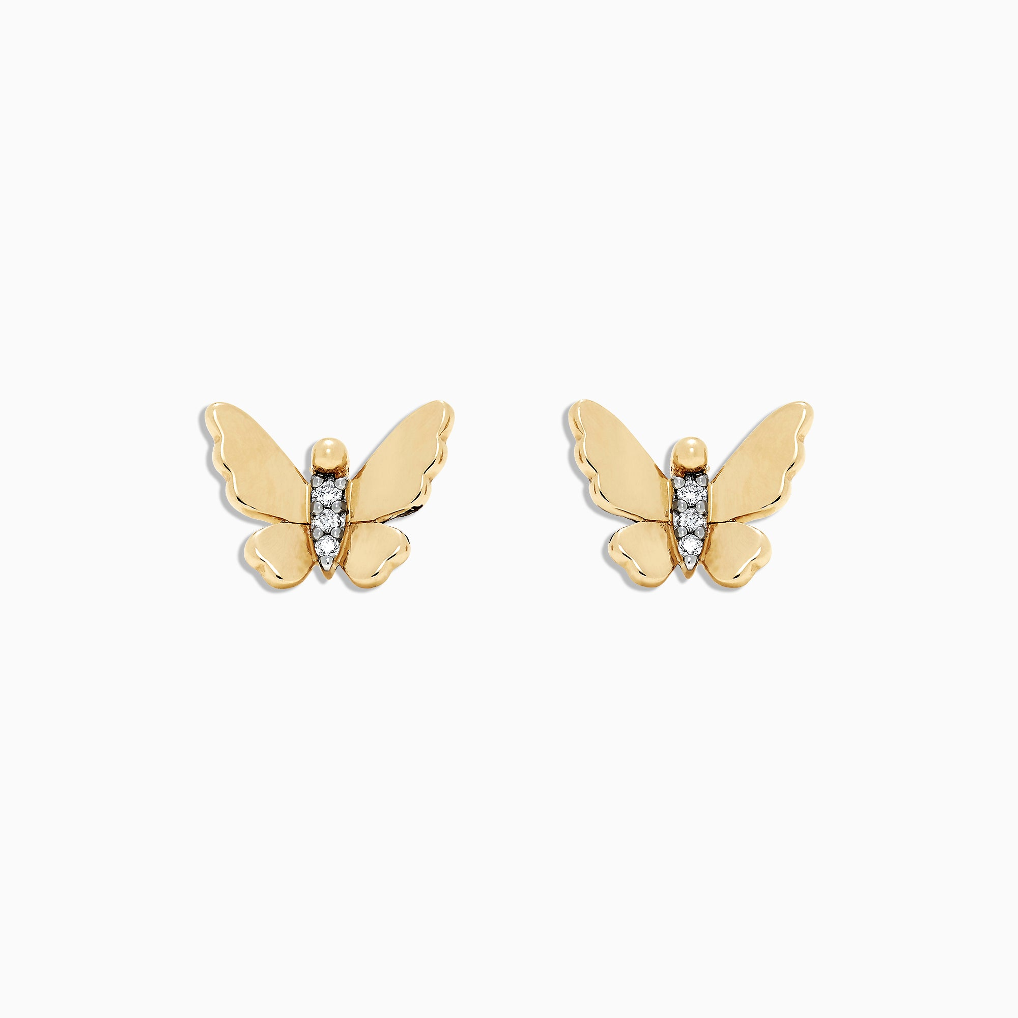 Effy Kidz 14K Yellow Gold Diamond Accented Butterfly Earrings, 0.03 TCW