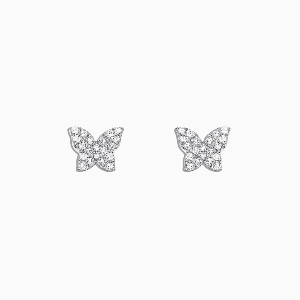 Effy Kidz 14K White Gold Diamond Butterfly Earrings, 0.13 TCW