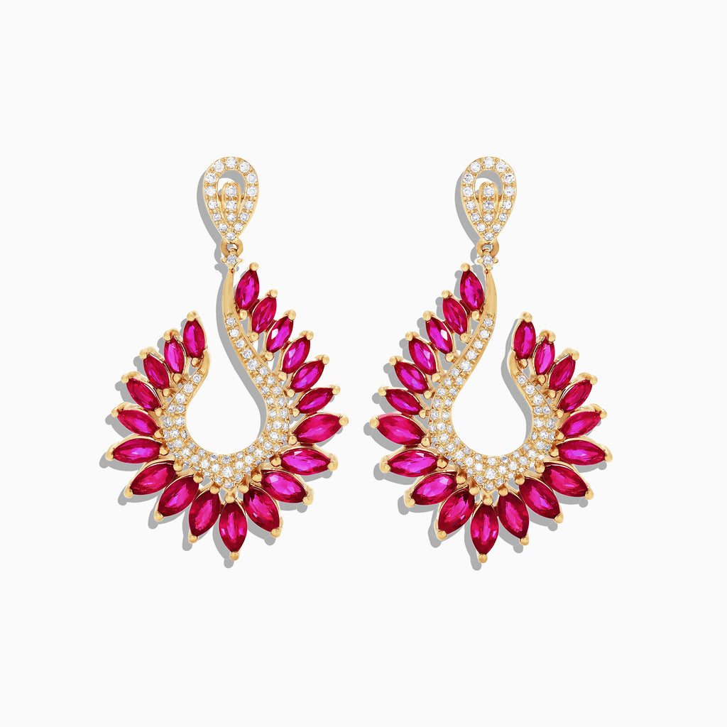 Effy Ruby Royale 14K Yellow Gold Ruby and Diamond Earrings, 6.95 TCW