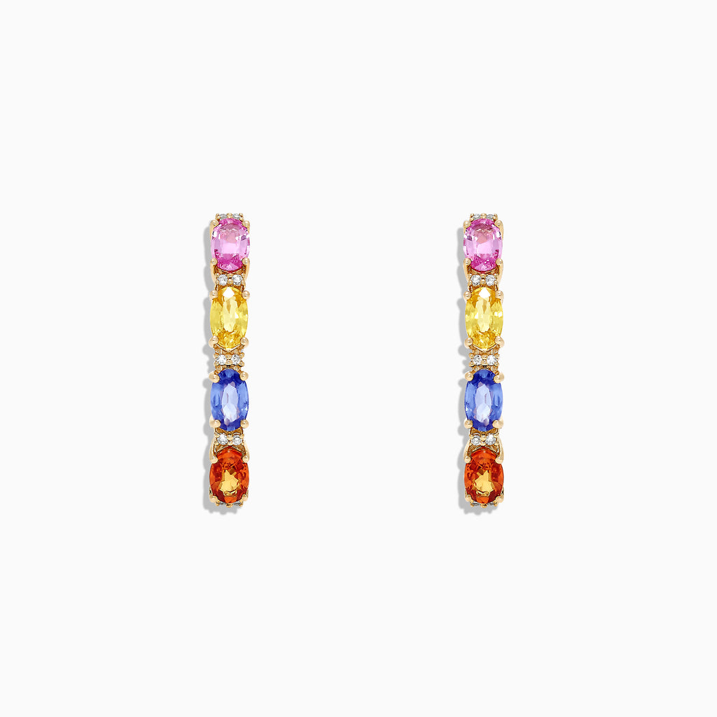 Effy Watercolors 14K Gold Multi Sapphire and Diamond Earrings, 2.58 TCW