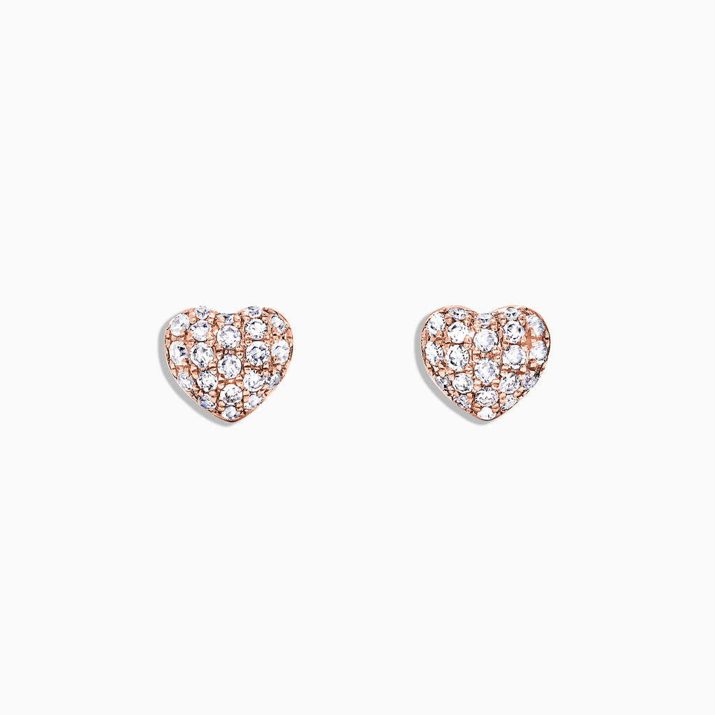 Effy Kidz 14K Rose Gold Diamond Heart Earrings, 0.17 TCW