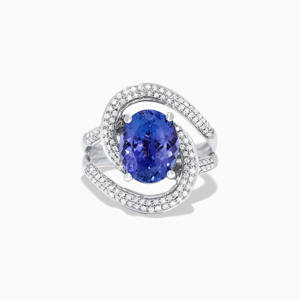 Effy 14K White Gold Tanzanite and Diamond Double Loop Ring, 4.31 TCW