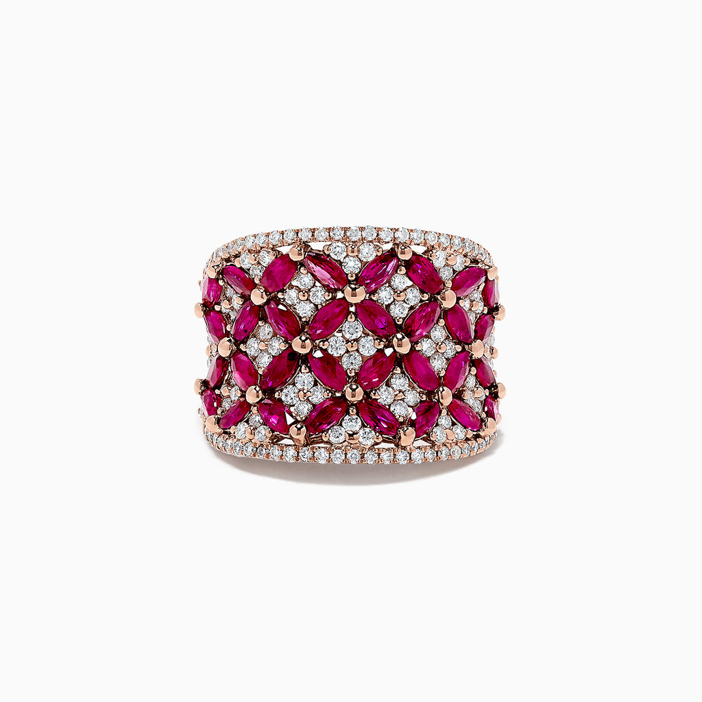Effy Ruby Royale 14K Rose Gold Ruby and Diamond Trellis Ring, 3.93 TCW