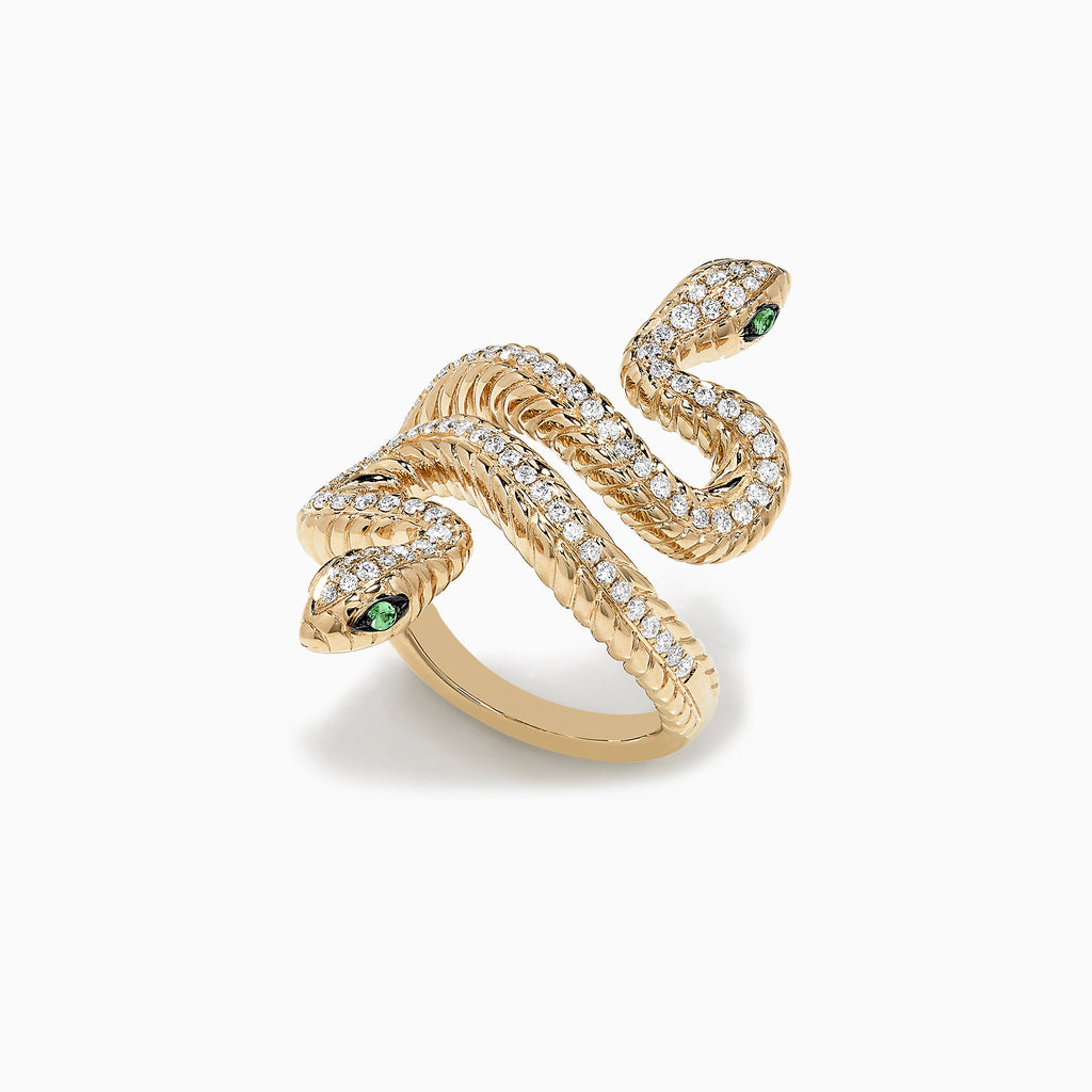 Effy Safari 14K Yellow Gold Tsavorite and Diamond Snake Ring, 0.68 TCW