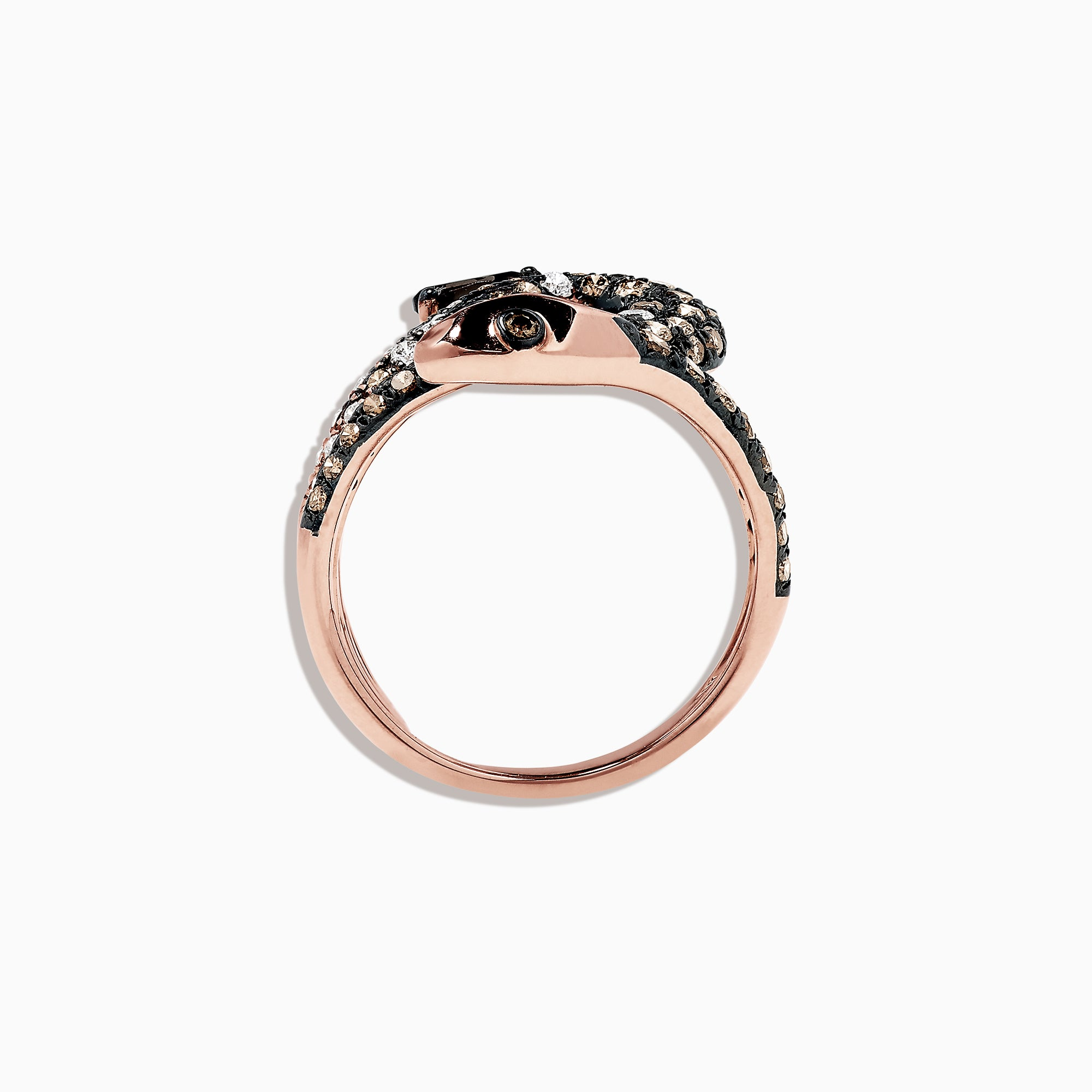 Effy Safari 14K Rose Gold Diamond and Smokey Quartz Snake Ring, 1.38 TCW