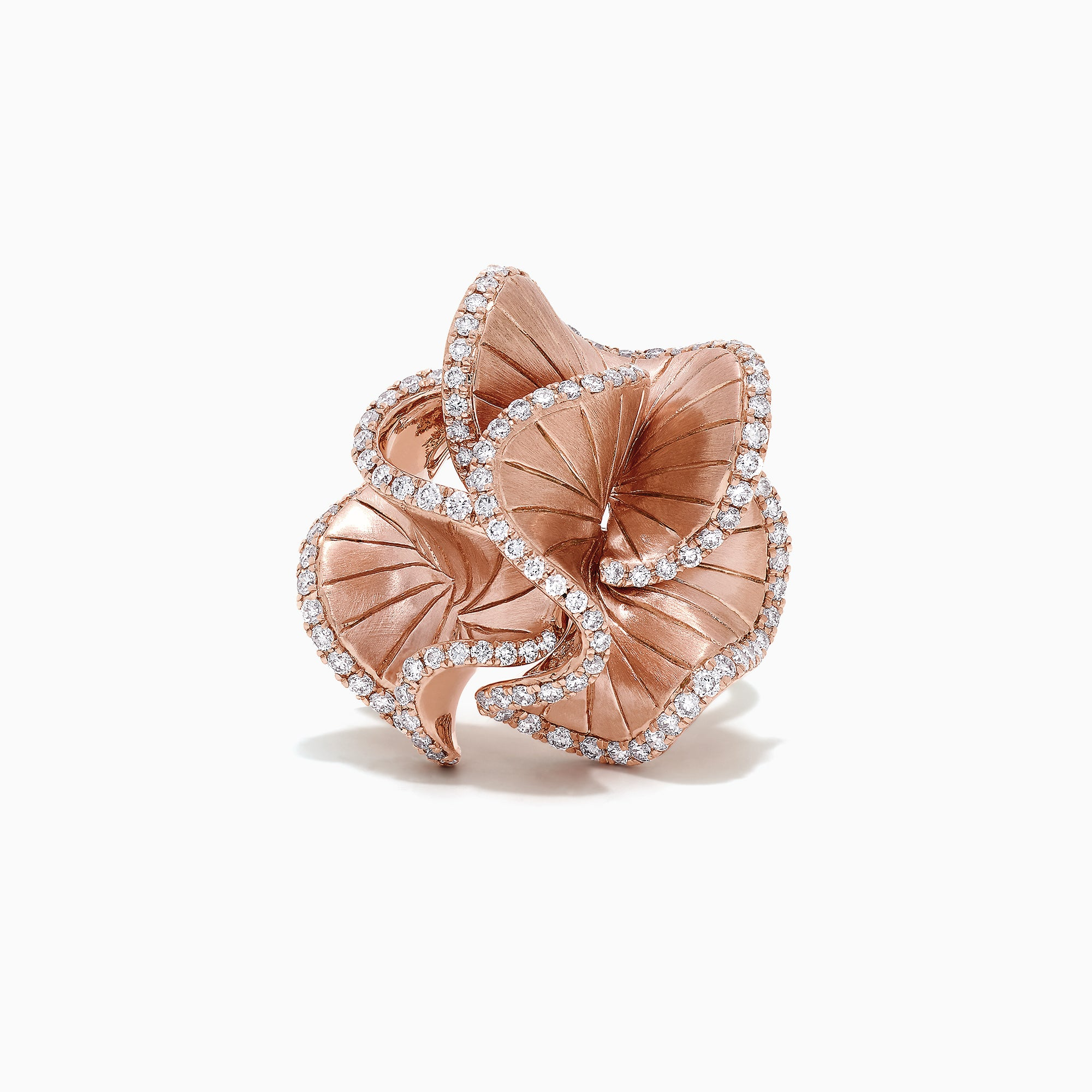 Effy Pave Rose 14K Rose Gold Diamond Flower Ring, 0.90 TCW