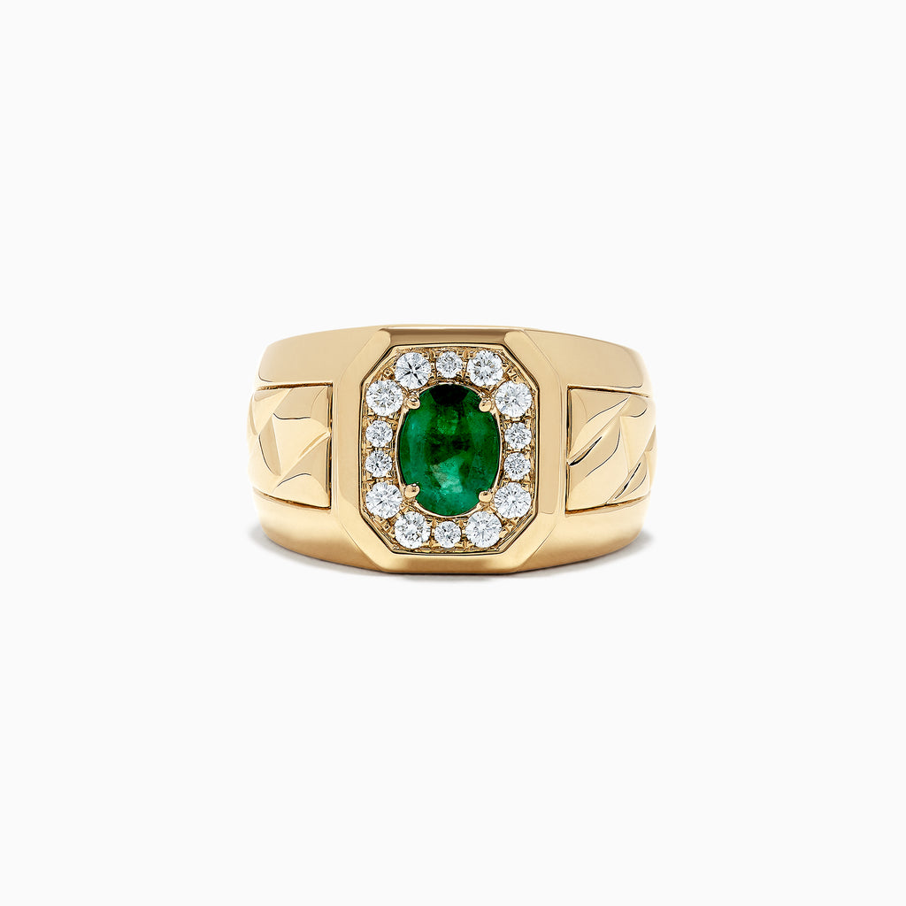 Effy Men's 14K Yellow Gold Emerald and Diamond Ring, 1.55 TCW