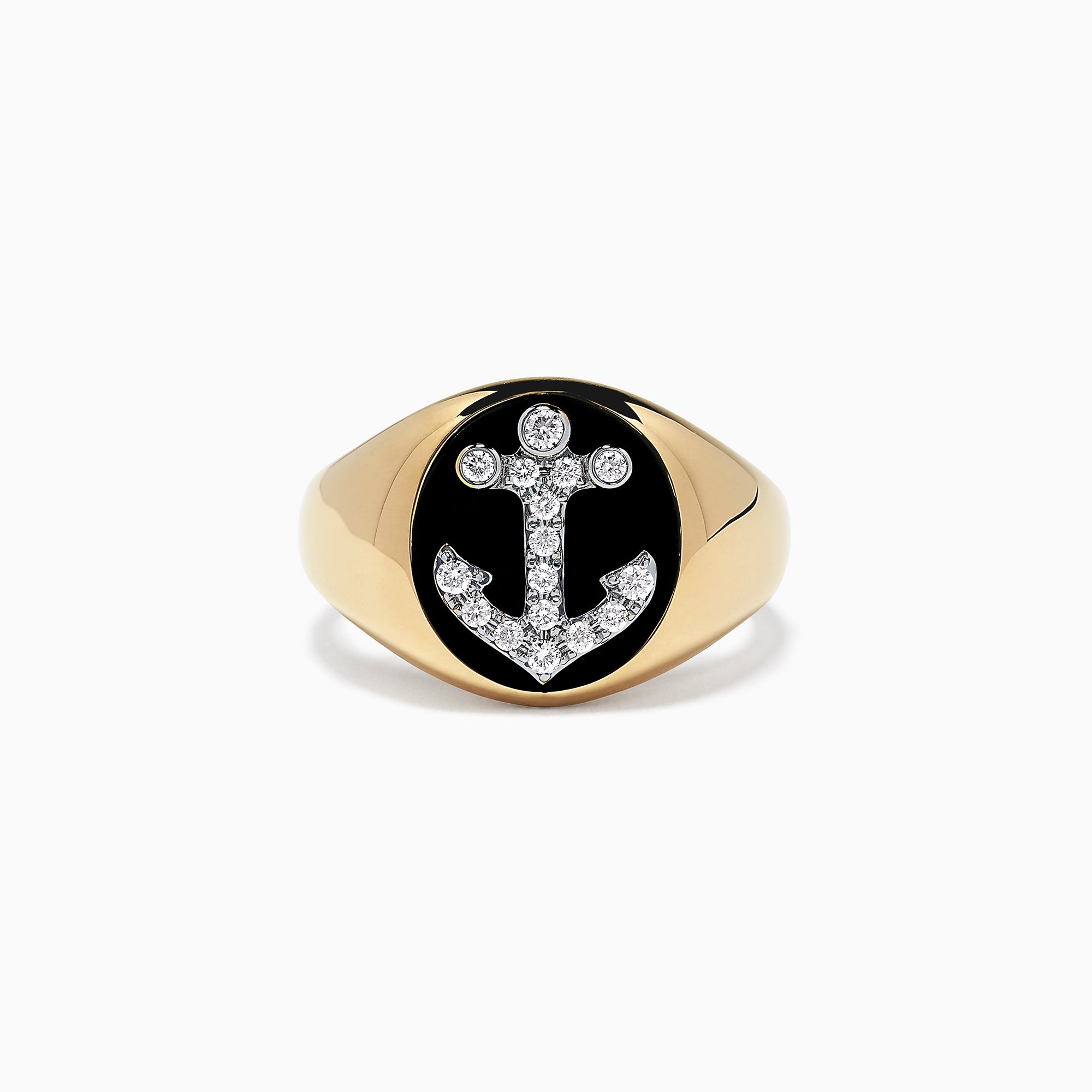 Effy Men's 14K Yellow Gold Diamond Anchor Signet Ring, 0.31 TCW
