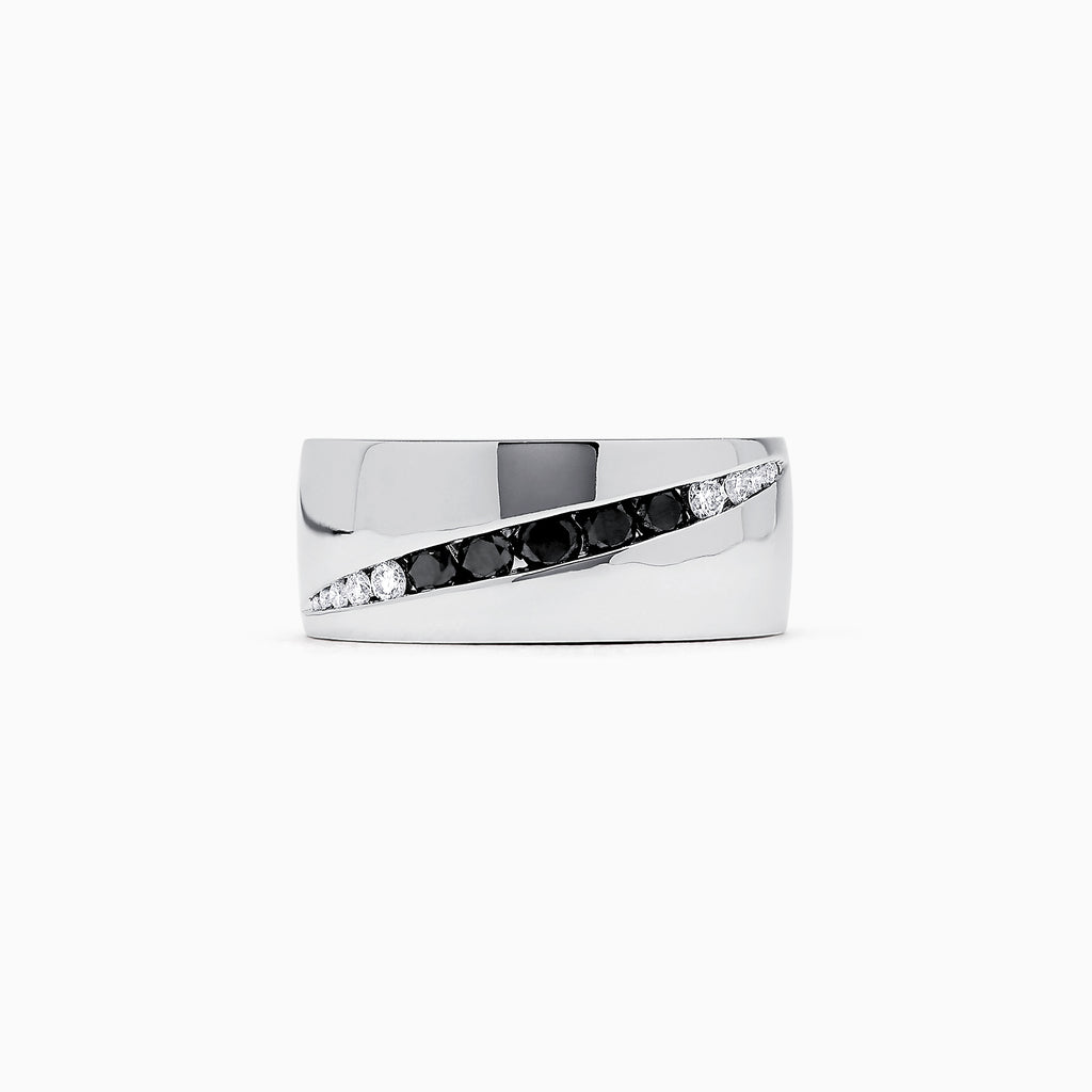 Effy Men's White Gold with Black and White Diamond Ring, 0.61 TCW