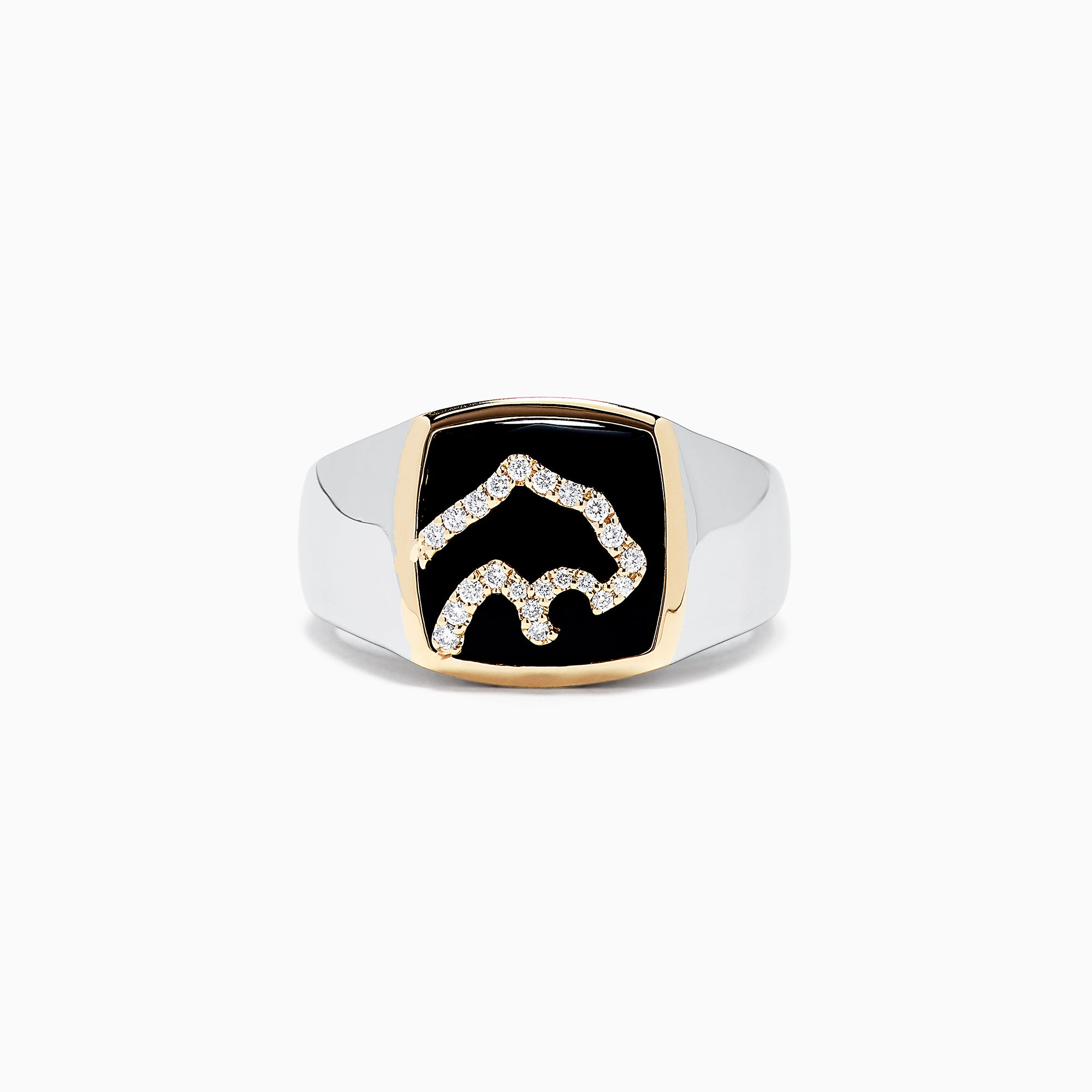 Effy Men's 14K Two-Tone Gold Black Agate and Diamond Panther Ring, 0.14 TCW
