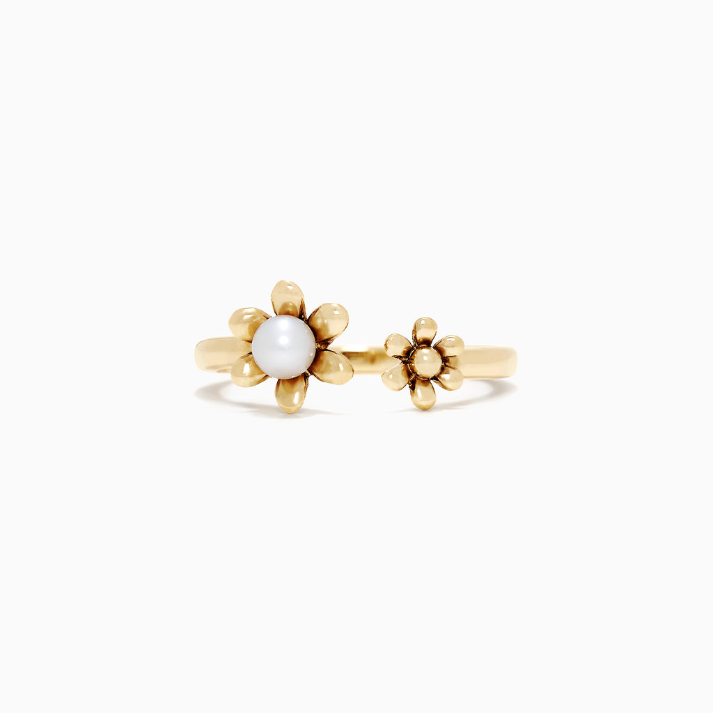 Effy Kidz Yellow Gold Pearl Flower Ring