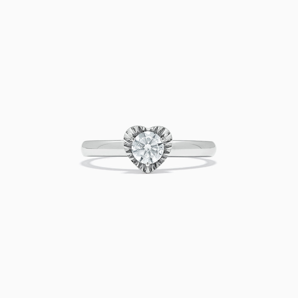 Effy Bridal 14K White Gold Diamond Heart Ring, 0.39 TCW