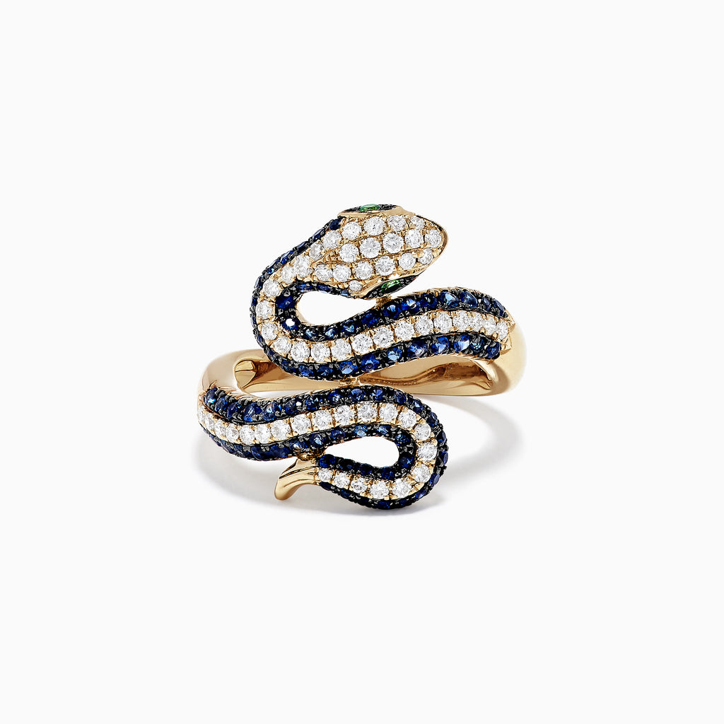 Effy Safari 14K Yellow Gold Blue Sapphire and Diamond Snake Ring, 1.49 TW