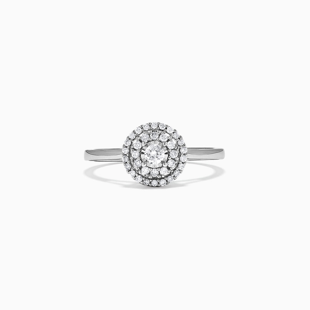 Effy Pave Classica 14K White Gold Diamond Halo Ring, 0.24 TCW