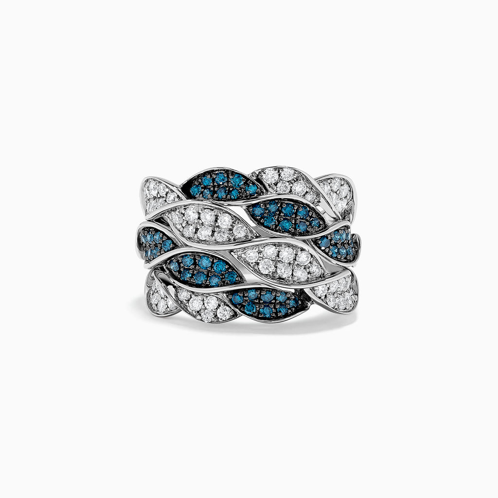 Effy Bella Bleu 14K White Gold Blue and White Diamond Twist Ring, 1.12 TCW