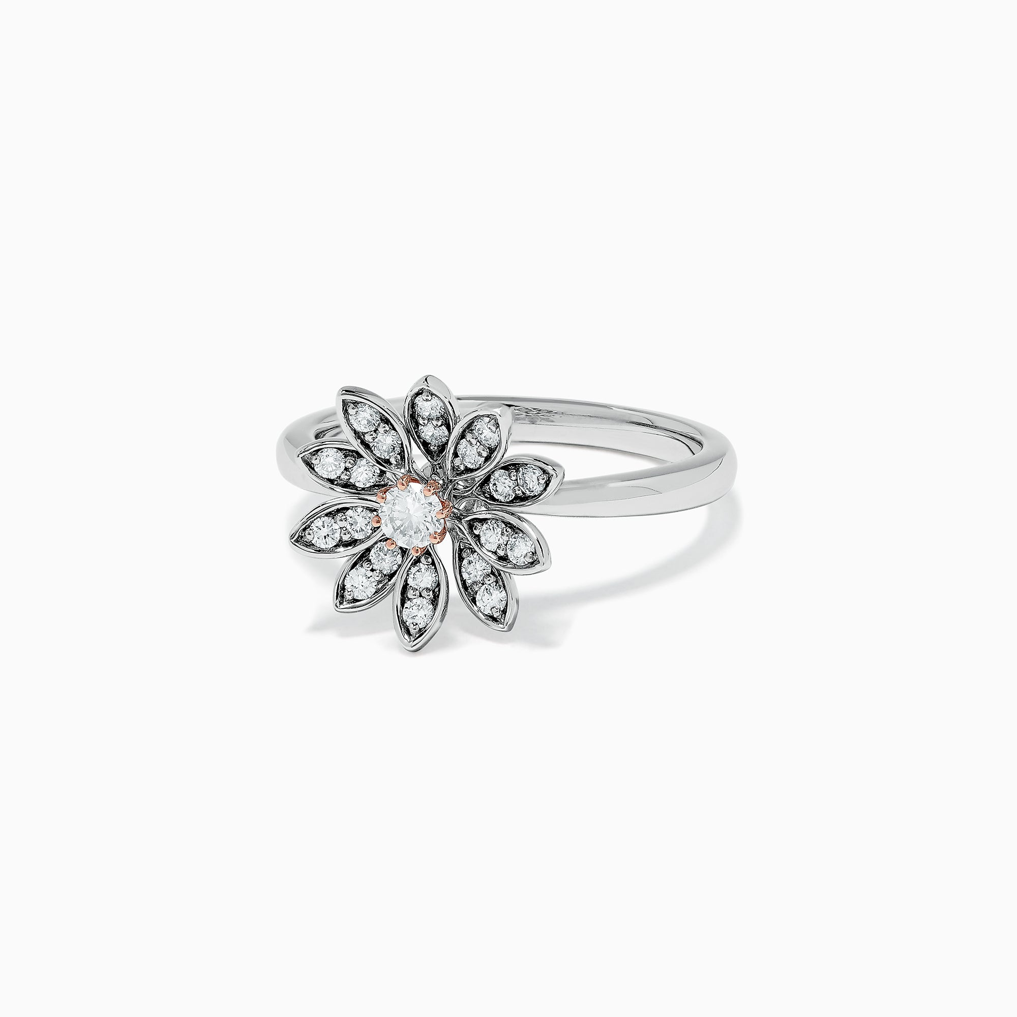 Effy Nature 14K Two Tone Gold Diamond Flower Ring, 0.34 TCW