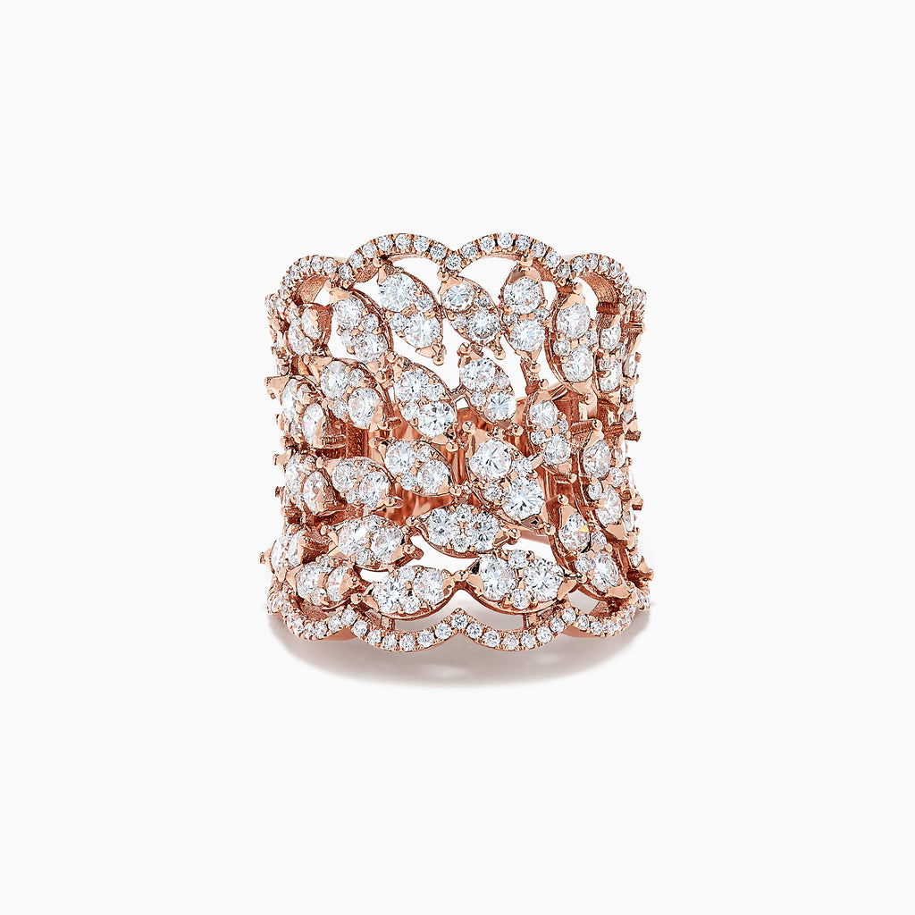 Effy Pave Rose 14K Rose Gold Diamond Ring, 3.11 TCW