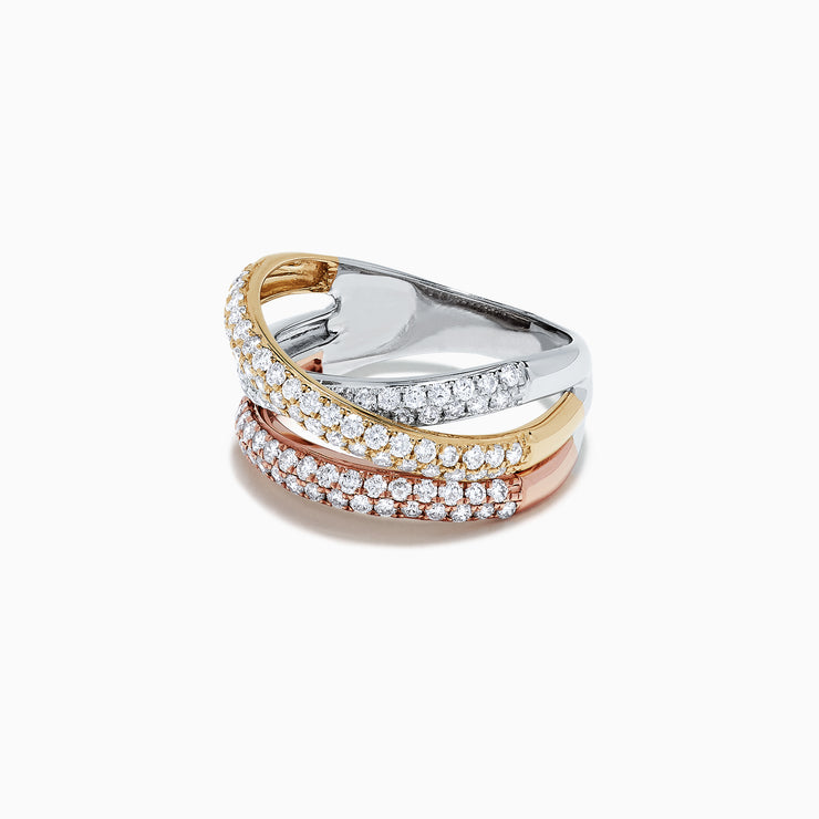 Effy Trio 14K Tri-Color Gold Diamond Ring, 0.98 TCW