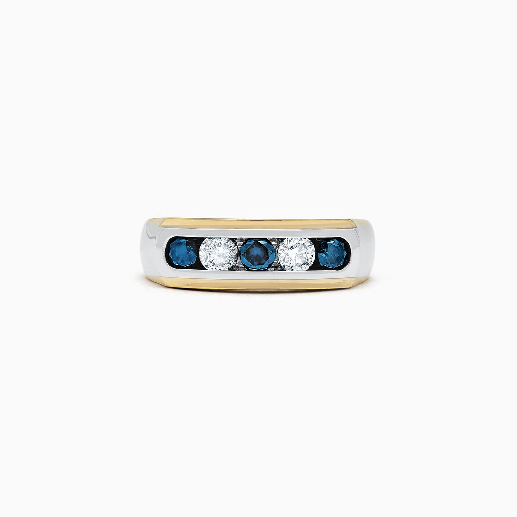 Effy Men's 14K Two-Tone Gold Blue and White Diamond Ring, 0.98 TCW