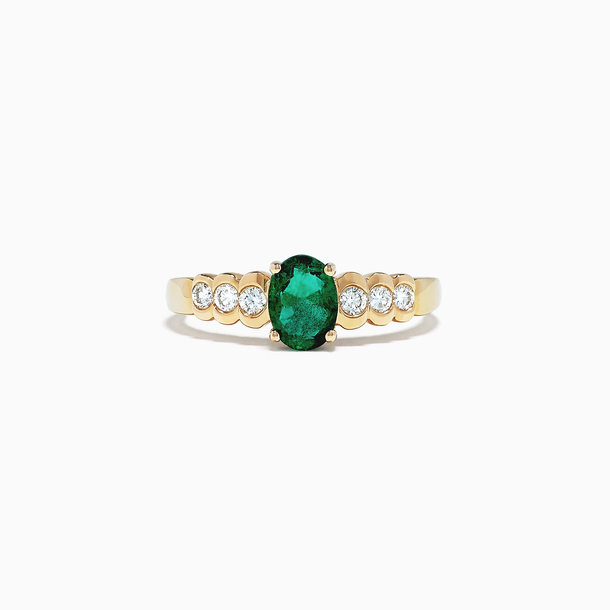 Effy 14K Yellow Gold Emerald and Diamond Ring, 0.94 TCW