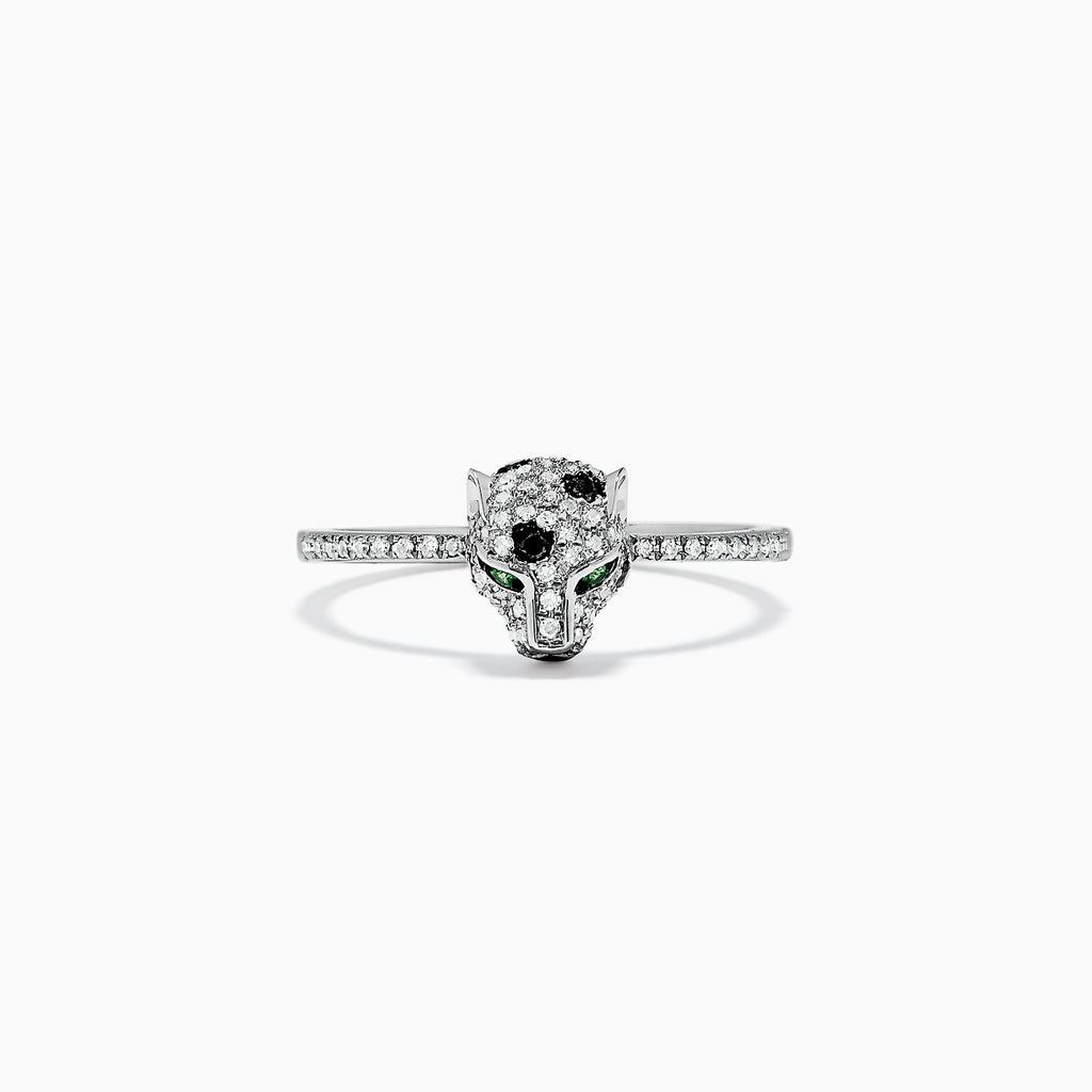 Effy Signature 14K White Gold Diamond and Tsavorite Mini Ring, 0.31 TCW