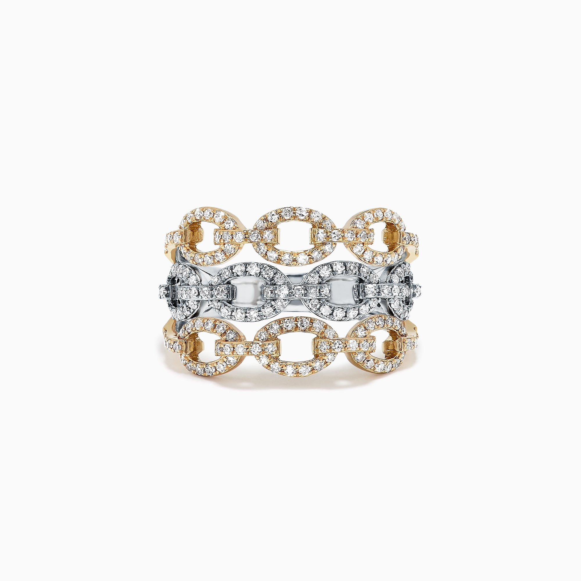 Effy Duo 14K Two Tone Gold Diamond Chain Link Ring, 0.73 TCW