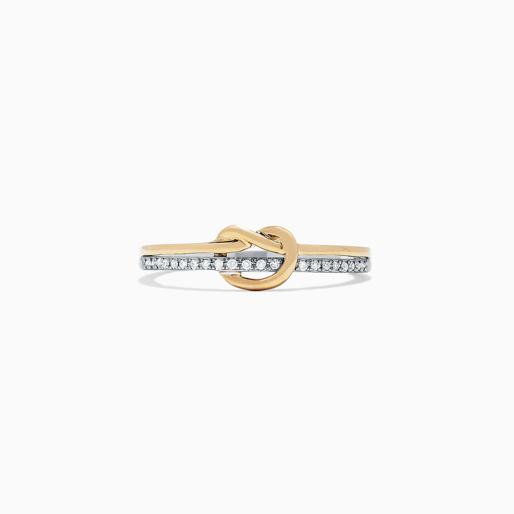 Effy Novelty 14K Two Tone Gold Diamond Knot Ring, 0.07 TCW