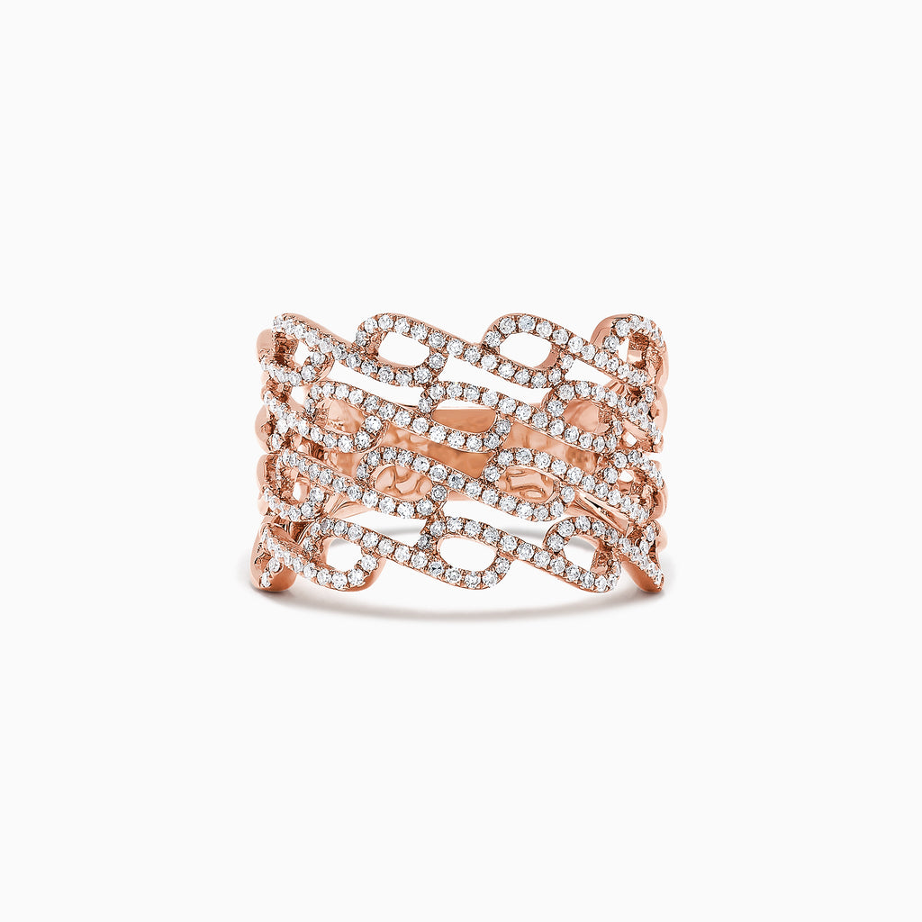 Effy Pave Rose 14K Rose Gold Diamond Ring, 0.52 TCW