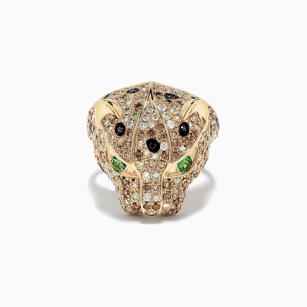 Effy Signature 14K Yellow Gold Tsavorite and Diamond Panther Ring, 2.72 TCW