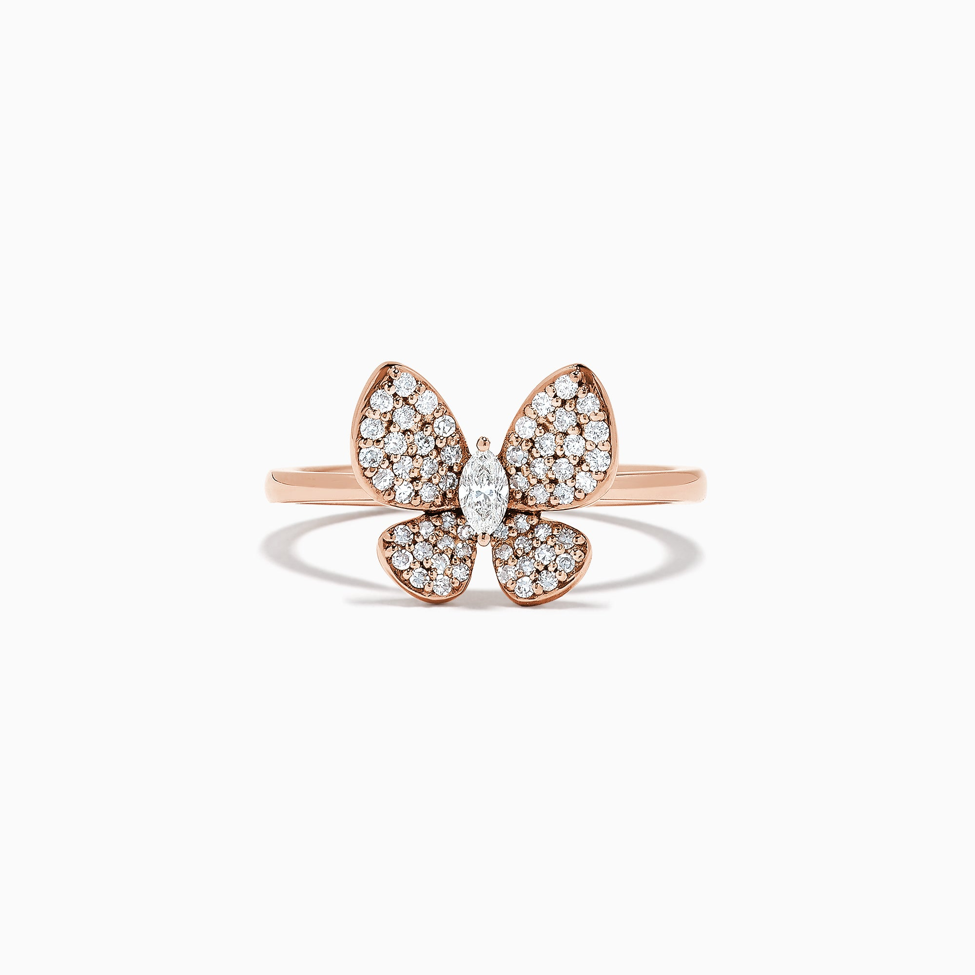 3a0feaa2119c2 Effy Nature 14K Rose Gold Diamond Butterfly Ring, 0.34 TCW ...