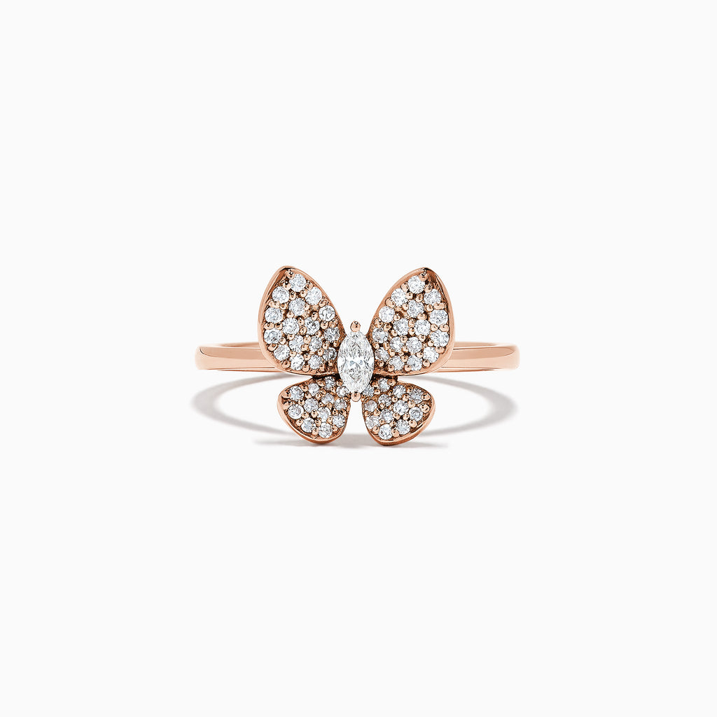 Effy Nature 14K Rose Gold Diamond Butterfly Ring, 0.34 TCW
