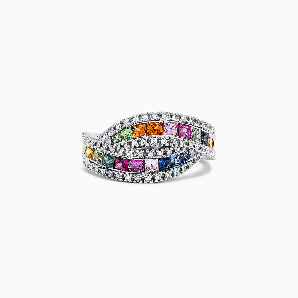 Effy Watercolors 14K White Gold Multi Sapphire and Diamond Ring, 1.95 TCW