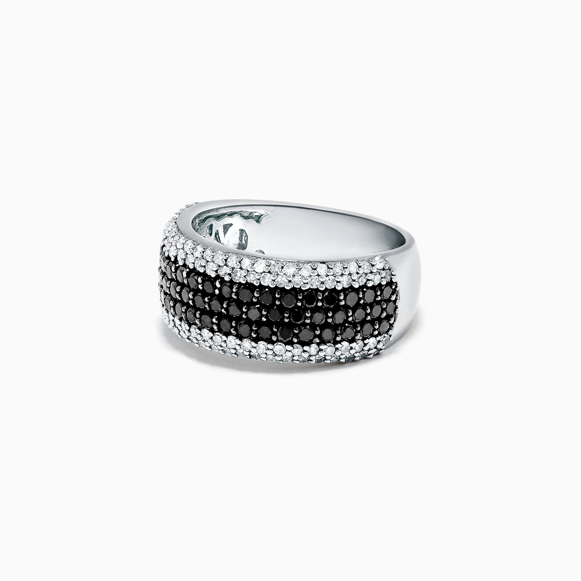 Effy 14K White Gold Black and White Diamond Pave Ring, 1.33 TCW