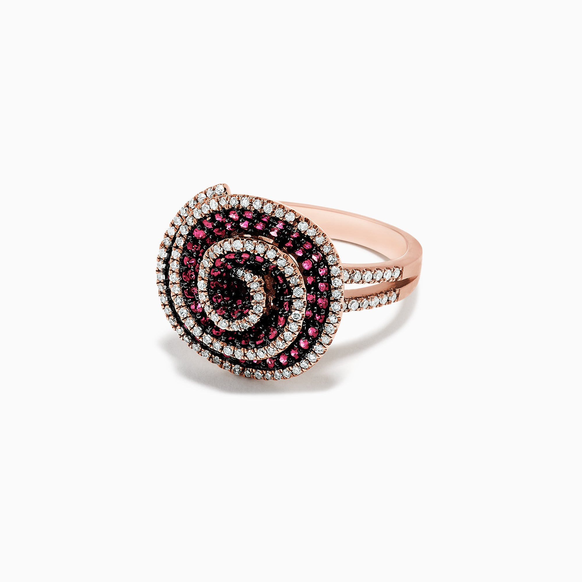 Effy 14K Rose Gold Ruby and Diamond Spiral Ring, 1.45 TCW