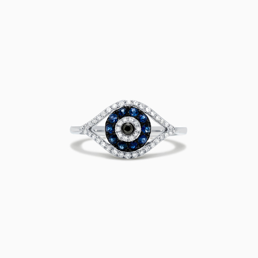 Effy Novelty 14K White Gold Blue Sapphire & Diamond Evil Eye Ring, 0.45 TCW