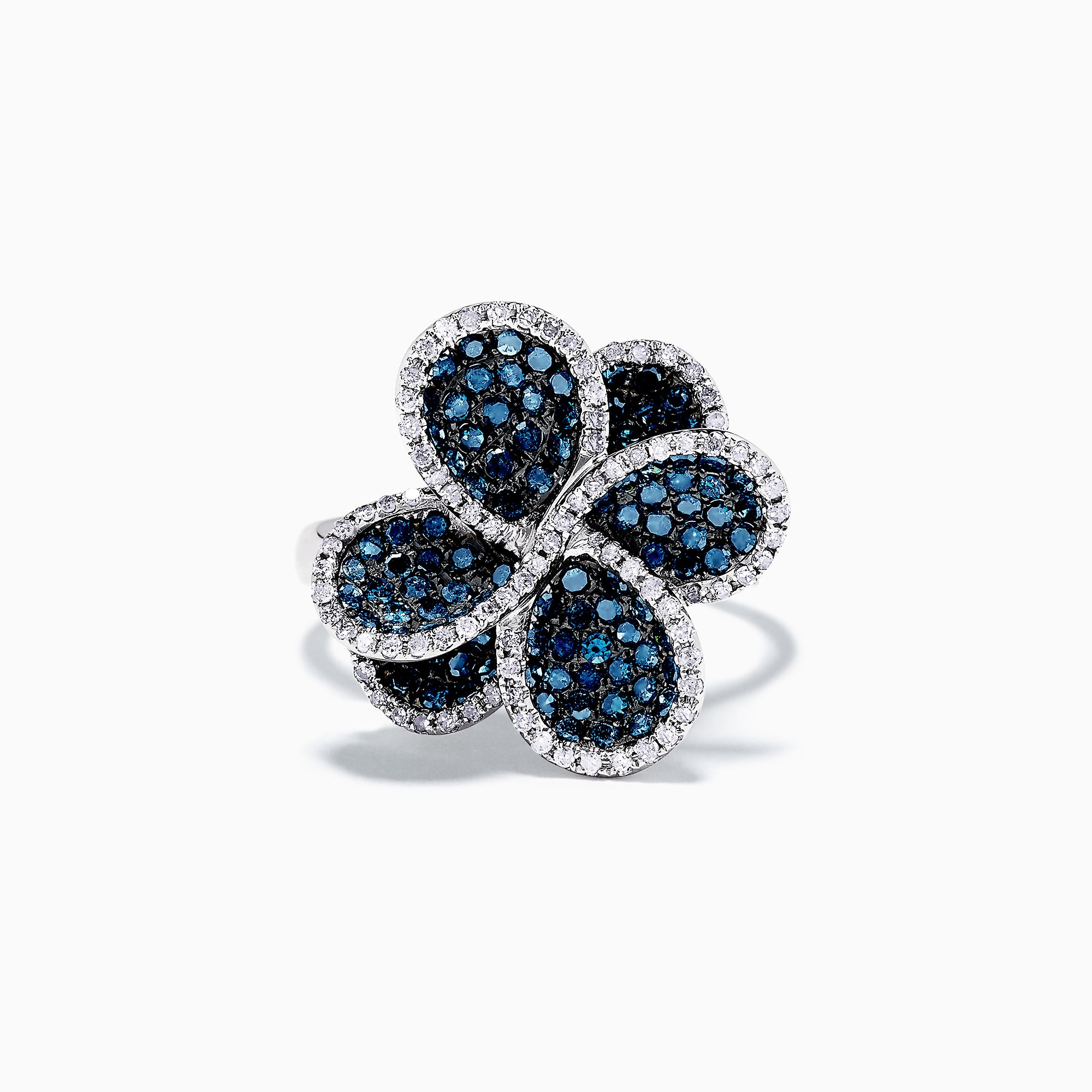 Effy 14K White Gold Blue and White Diamond Flower Ring, 1.43 TCW