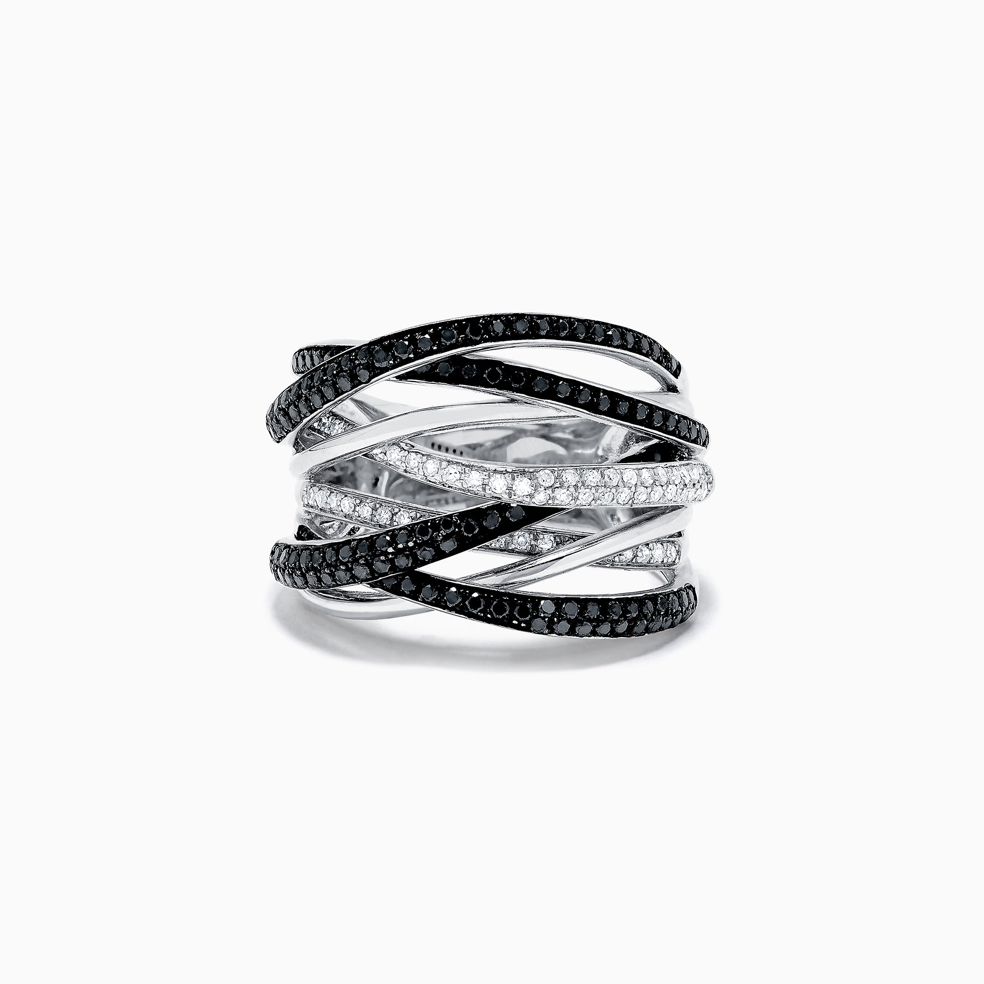 Effy 14K White Gold Black and White Diamond Ring, 0.74 TCW