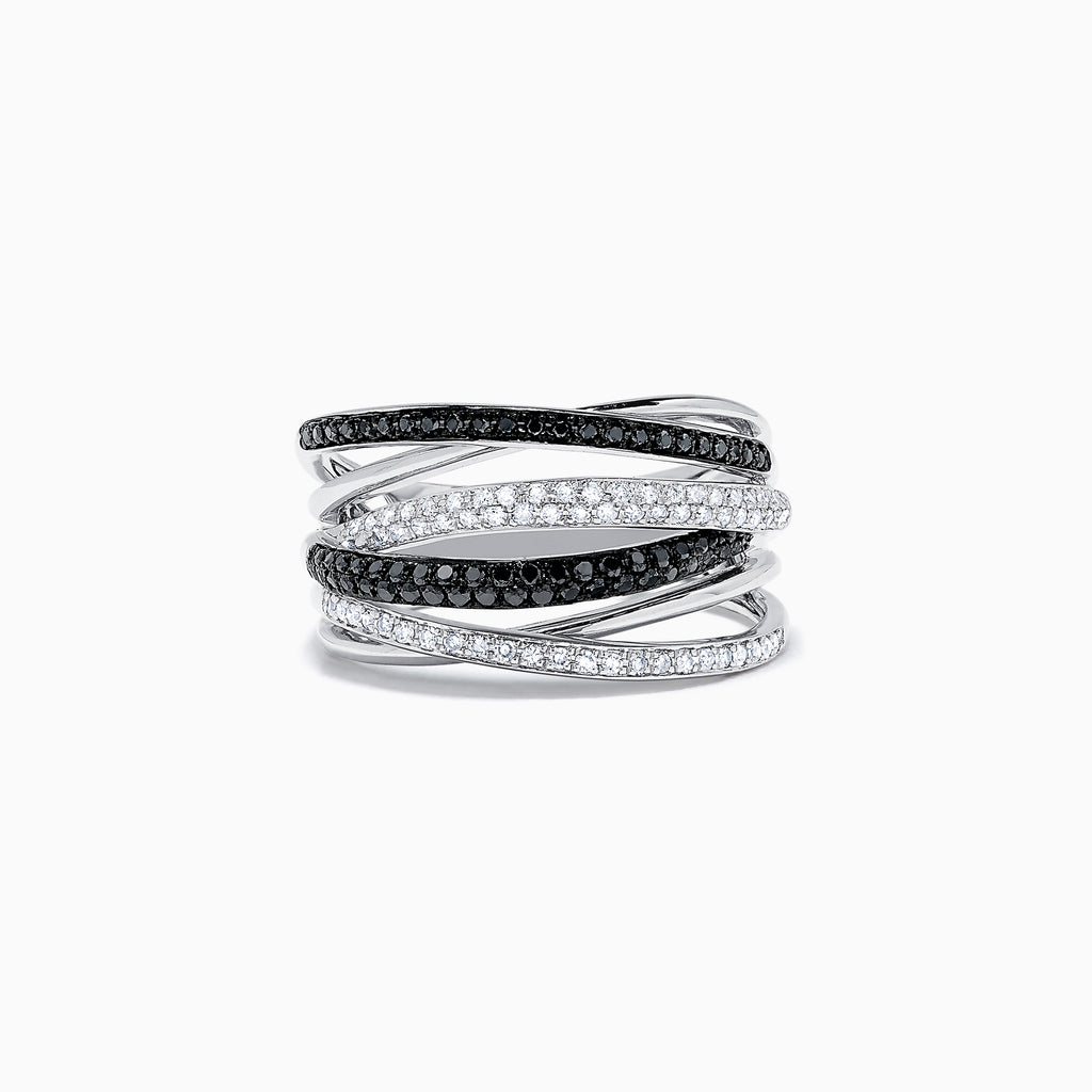 Effy 14K White Gold Black and White Diamond Ring, 0.56 TCW