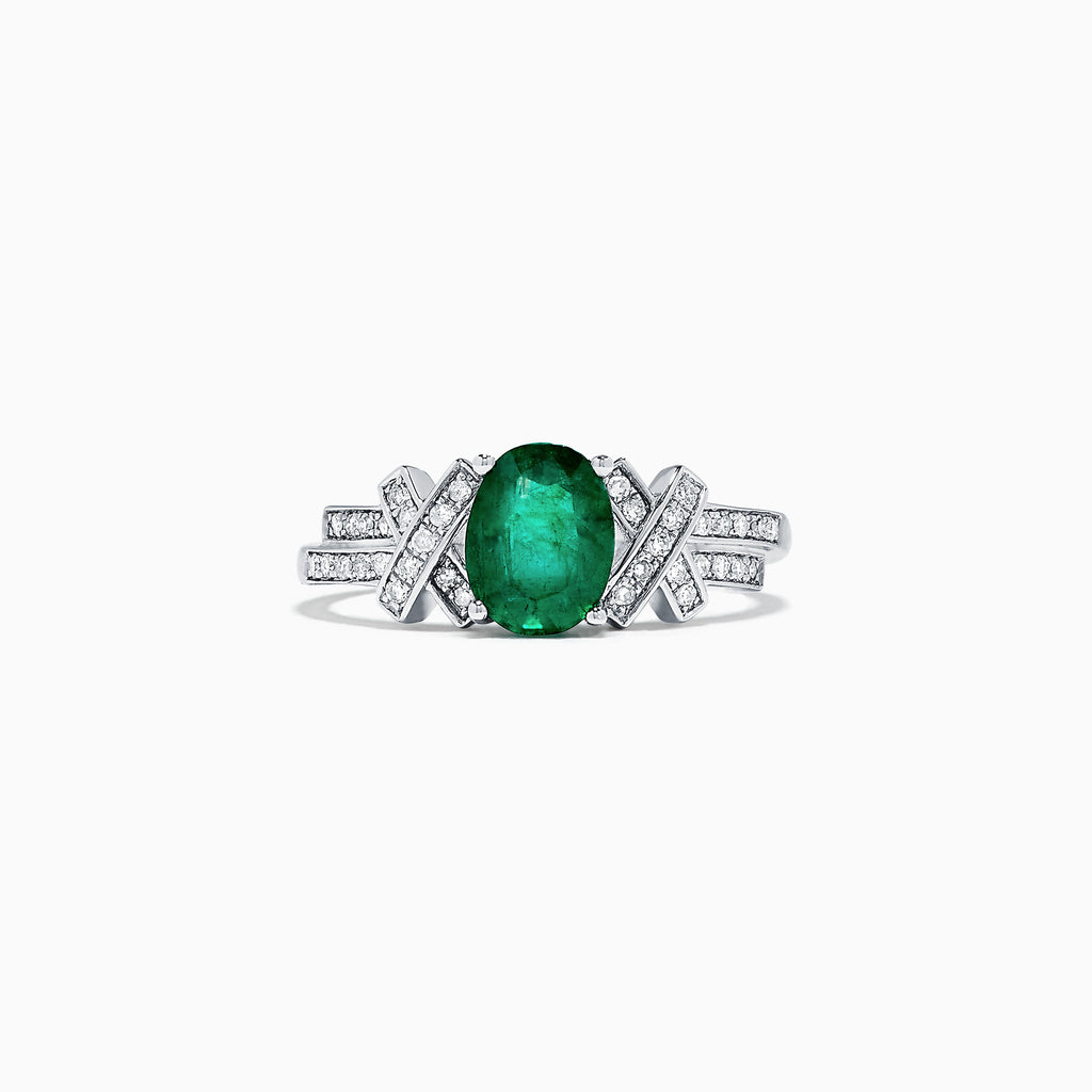 Effy 14K White Gold Emerald and Diamond Ring, 1.30 TCW