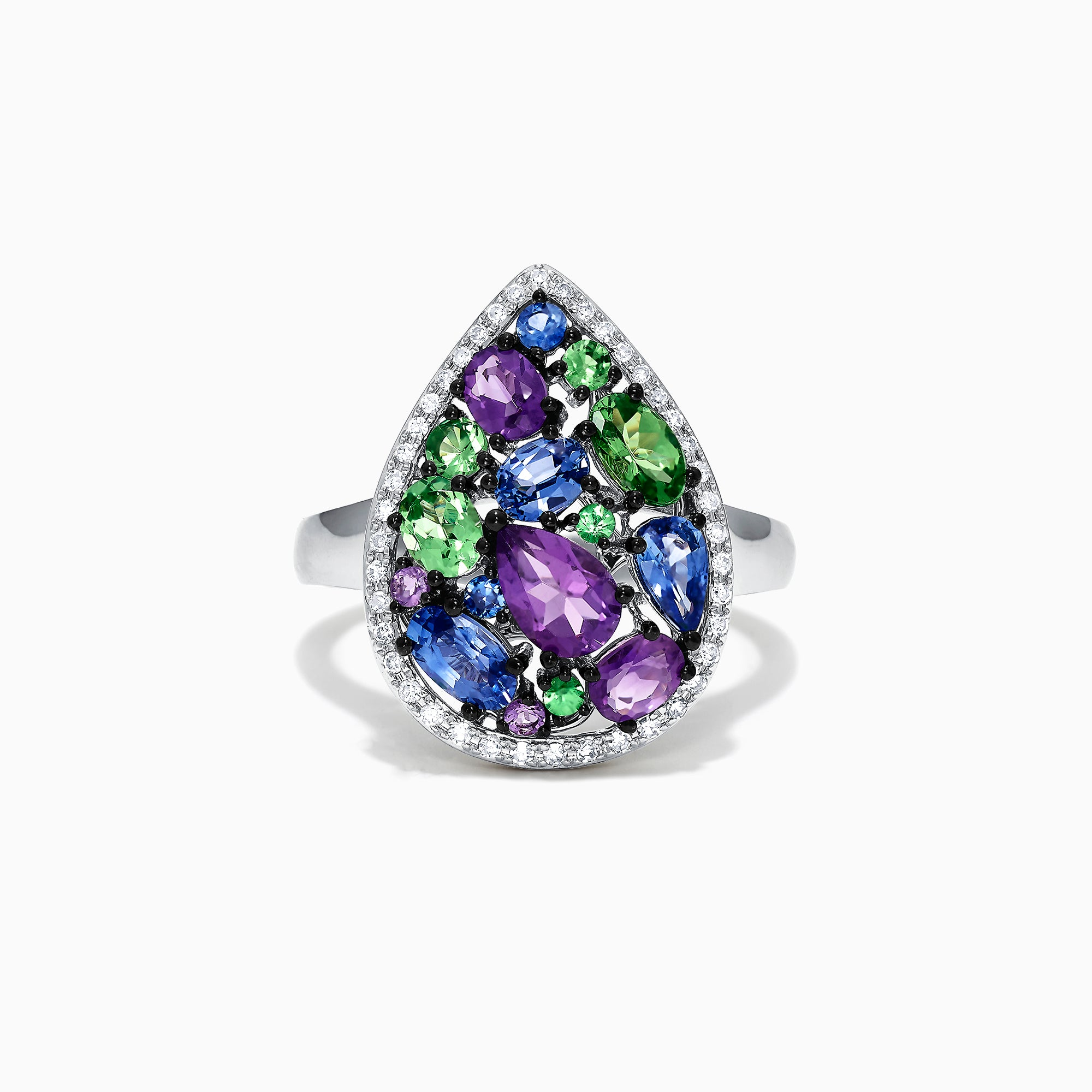 Effy Watercolors 14K White Gold Multi Gemstone and Diamond Ring, 2.45 TCW