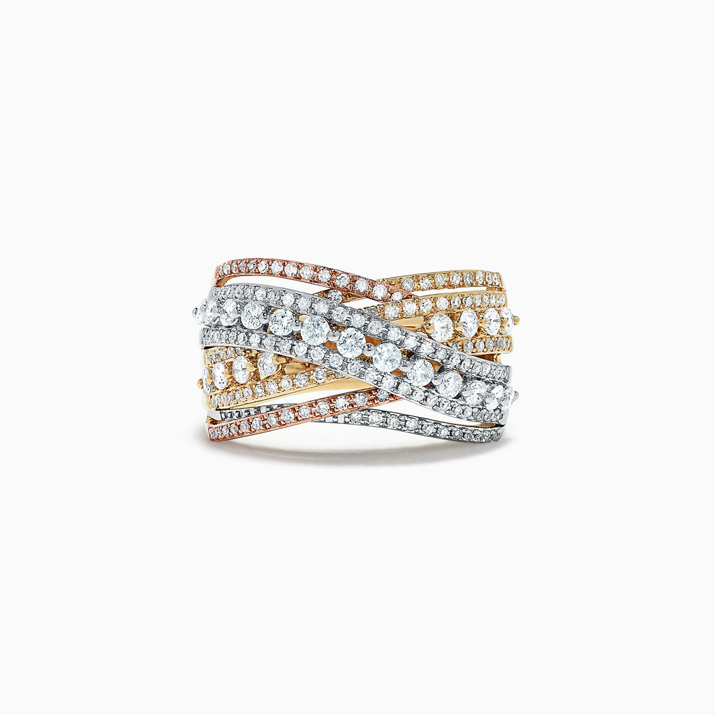 Effy 14K Tri Color Gold Diamond Crossover Ring, 1.07 TCW