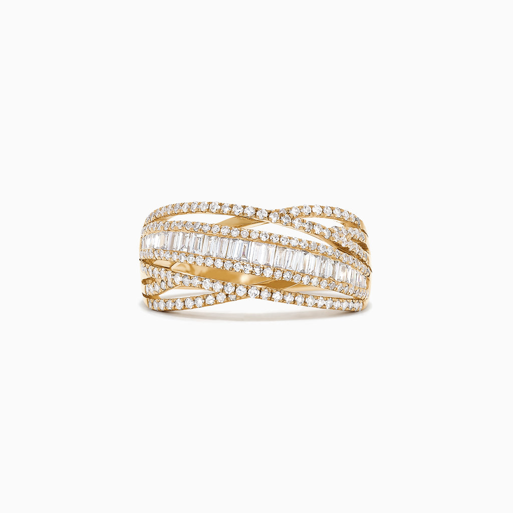 Effy D'Oro 14K Yellow Gold Diamond Crossover Ring, 0.98 TCW
