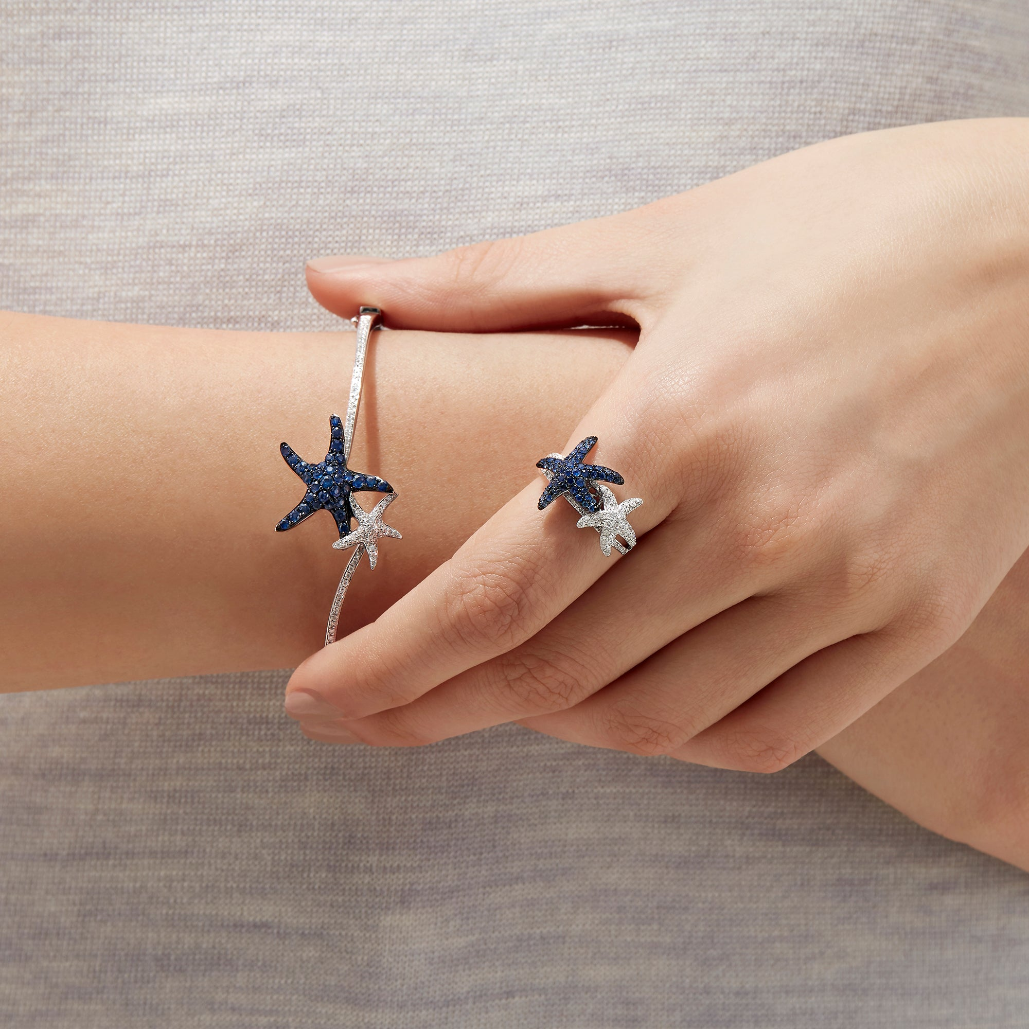 Effy Seaside 14K White Gold Blue Sapphire & Diamond Starfish Ring, 0.87 TCW