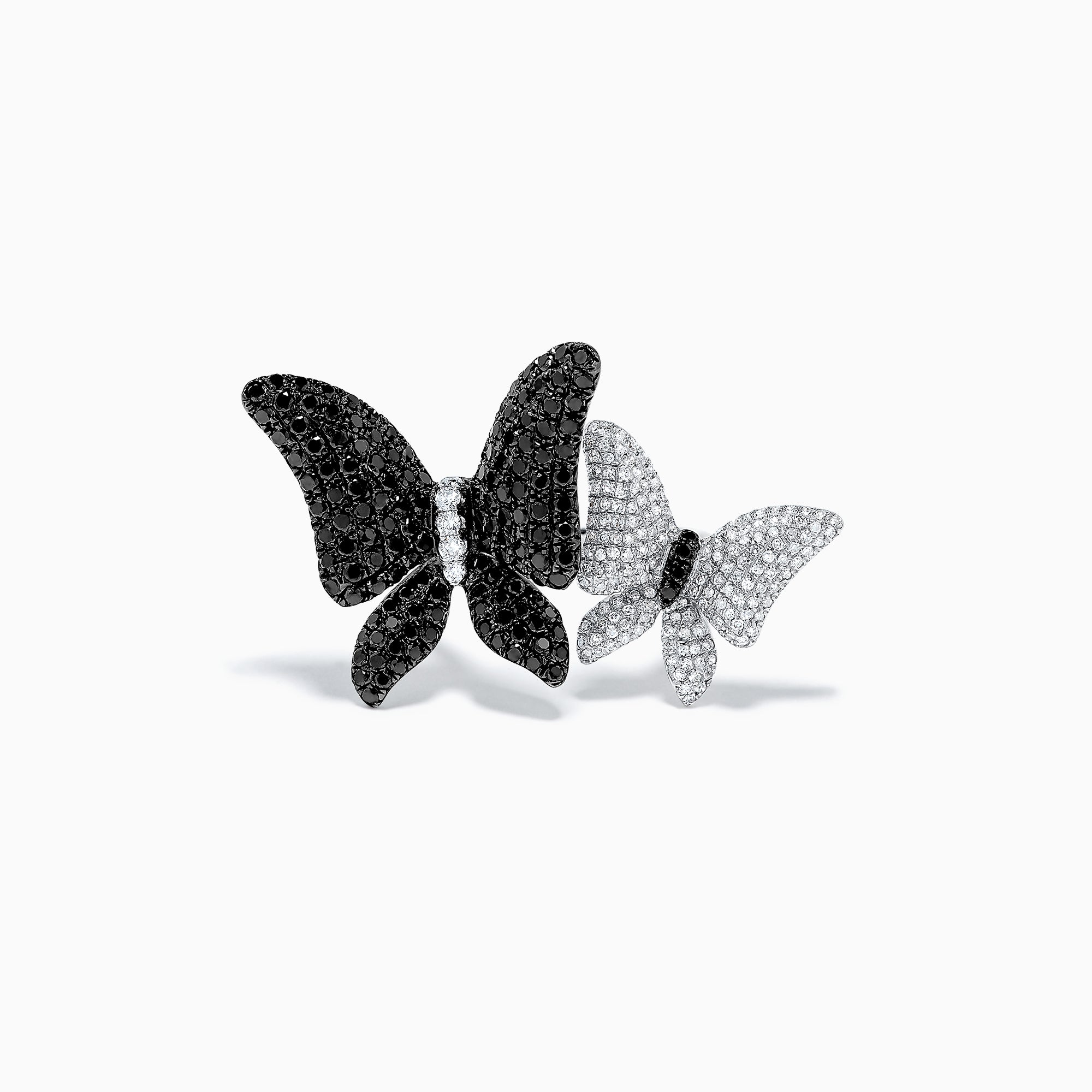 Effy Nature 14K White Gold Black and White Diamond Butterfly Ring, 2.23 TCW